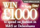 Win £1000 to spend in either M&S or Debenhams