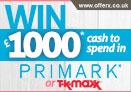 Win £1000 Primark or TK Maxx vouchers