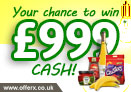 Win £999 cash to spend in Morrisons or Sainsbury's