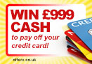 Win £999 cash to pay off your credit card