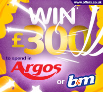 Win £300 to spend in Argos or B&M