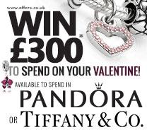 Win £300 Pandora or Tiffany giftcard
